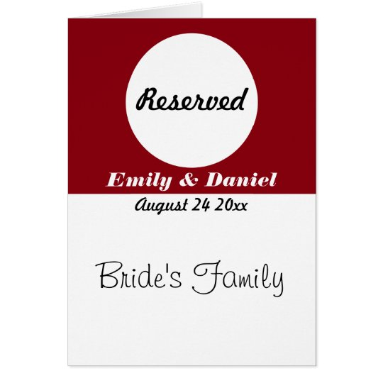 Table Reservation Card Red And White Wedding