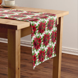 Table Runner-Christmas Red Rose & Holly Short Table Runner