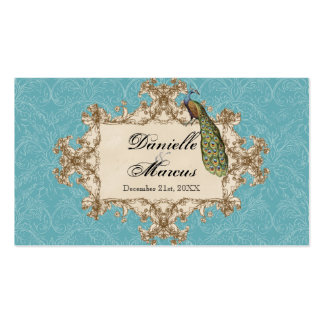 Table Seating - Blue Vintage Peacock & Etchings Pack Of Standard Business Cards