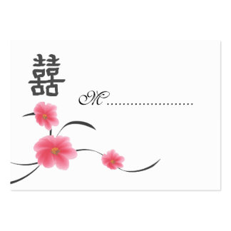 Table Seating Card Cherry Blossom Double Happiness Large Business Cards (Pack Of 100)