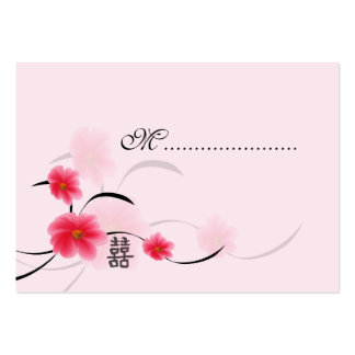 Table Seating Card Pink Blossom Double Happiness Large Business Cards (Pack Of 100)