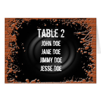 Table Seating Grunge Brick Note Card