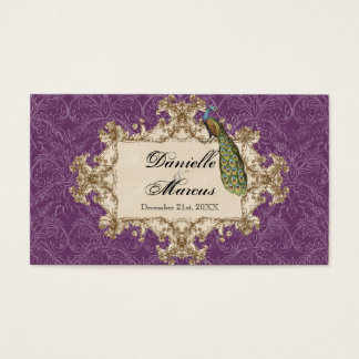 Table Seating - Purple Vintage Peacock & Etchings Business Card