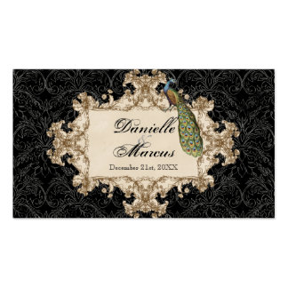 Table Seating - Purple Vintage Peacock Etchings Business Cards