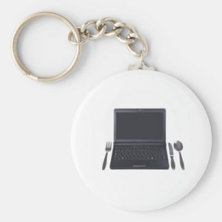 table setting basic round button key ring