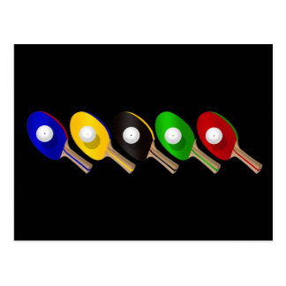 Table Tennis Bat and Ping Pong Ball Sports Postcard
