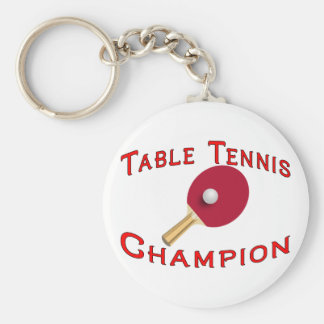 Table Tennis Champion Basic Round Button Key Ring