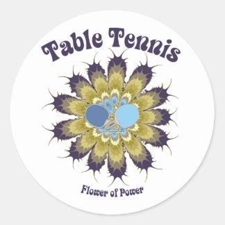 Table Tennis Flower of Power Round Sticker