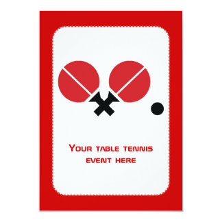 Table tennis ping-pong rackets and ball black, red 13 cm x 18 cm invitation card