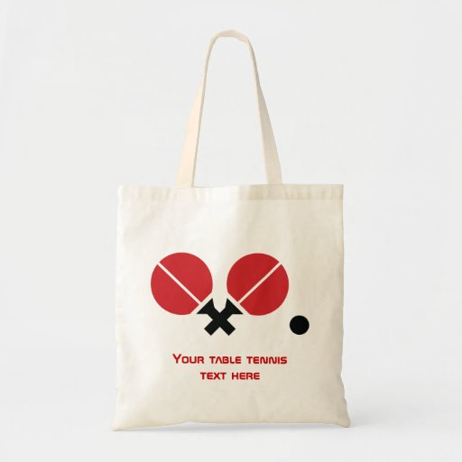 Table tennis ping-pong rackets and ball black, red tote bag