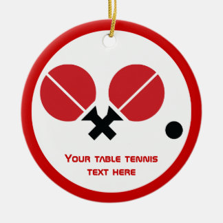 Table tennis ping-pong rackets and ball black, red christmas ornament