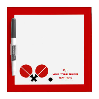 Table tennis ping-pong rackets and ball black, red dry erase board