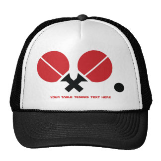 Table tennis ping-pong rackets and ball black, red trucker hat