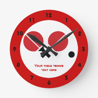 Table tennis ping-pong rackets and ball black, red round clock