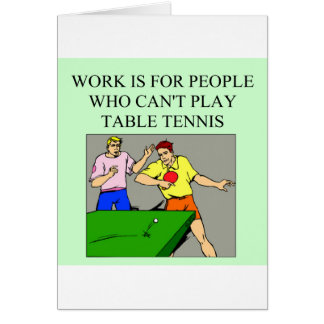 table tennis player greeting card
