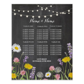 Table Wedding Floral Wild Flowers Poster Seating