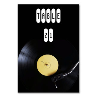 TableCard: Vinyl Record on Turntable. Retro theme Table Cards
