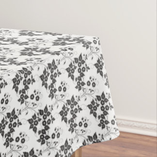 "Tablecloth ""60x84"" Black & White Floral"