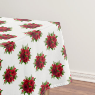 """Tablecloth """"60x84"""" Christmas Red Rose & Holly"""