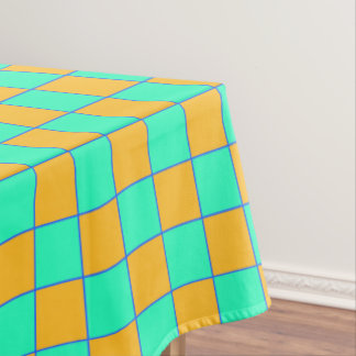 Tablecloth Karo in orange and turquoise mint