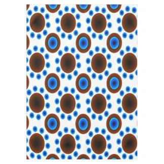 Tablecloth retro blue brown white  dots