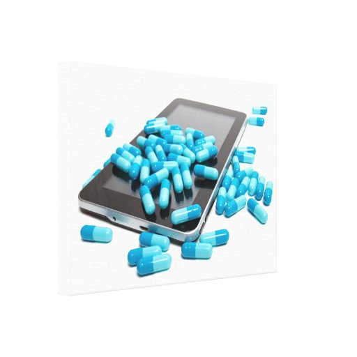 Tablet and pills stretched canvas prints