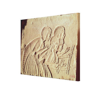 Tablet depicting four scribes at work canvas print