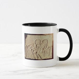 Tablet depicting four scribes at work mug