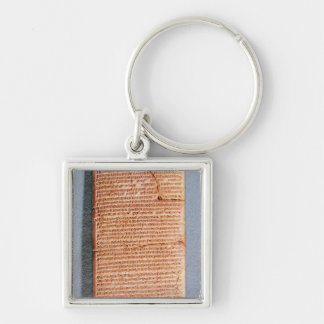 Tablet relating the ritual sacrifices Silver-Colored square key ring