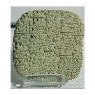 Tablet with cuneiform script stretched canvas prints
