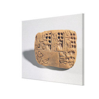 Tablet with pictographic inscription, Protoliterat Stretched Canvas Prints