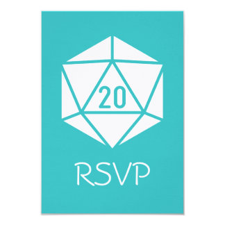 Tabletop Chic in Turquoise RSVP Card 9 Cm X 13 Cm Invitation Card