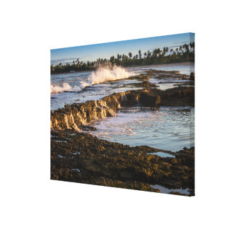 Tabuba Beach: Breaking Waves On The Reefs Canvas Print