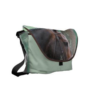 Tacked Dark Bay Horse Messenger Bag