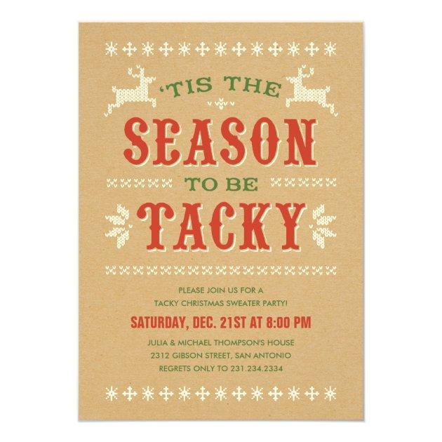 Tacky Christmas Sweater Party Invitations | Zazzle
