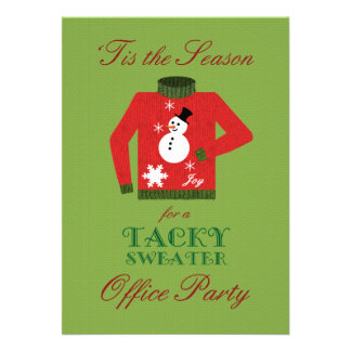 Tacky Sweater Office Christmas Party Personalized Invitations