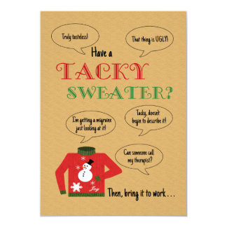 Tacky Sweater Office Christmas Party Personalized Invitation