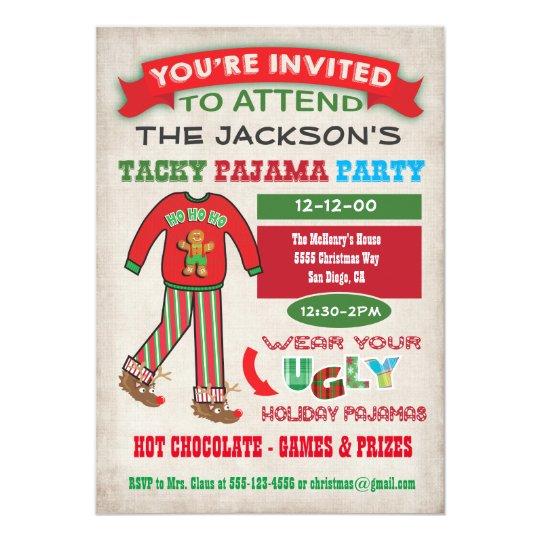 Tacky Ugly Christmas Pyjamas Party invitation