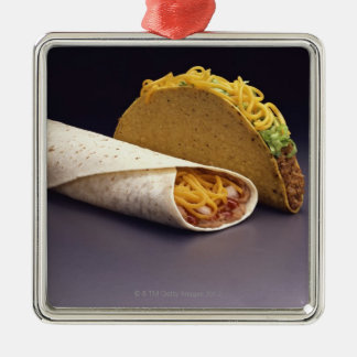 Taco and bean burrito christmas ornament