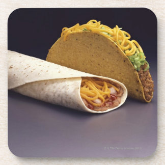 Taco and bean burrito coaster