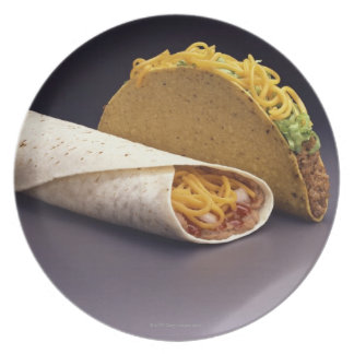 Taco and bean burrito plate