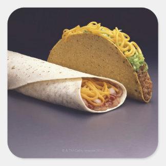 Taco and bean burrito square sticker