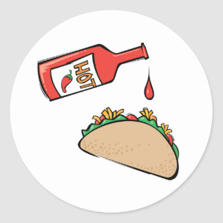 Taco and Hot Sauce Round Sticker