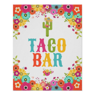 Taco Bar Poster- Fiesta Party Table Sign