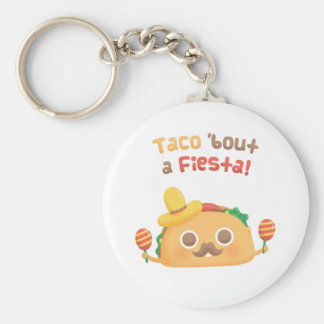 Taco Bout A Fiesta Cute Food Puns Keychain