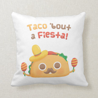 Taco Bout A Fiesta Cute Food Puns Throw Pillow