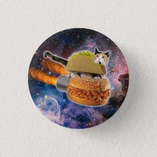 taco catand rockethamburger in the universe 3 cm round badge