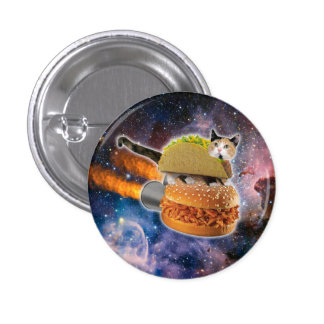 taco cat and rocket hamburger in the universe 3 cm round badge