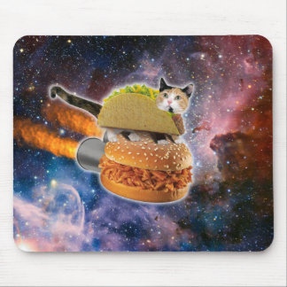 taco cat and rocket hamburger in the universe mouse mat