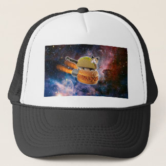 taco cat and rocket hamburger in the universe trucker hat